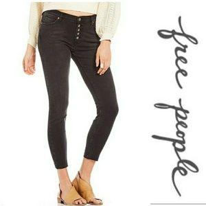 Free People   Raw Hem Raegan Button Front Jeans